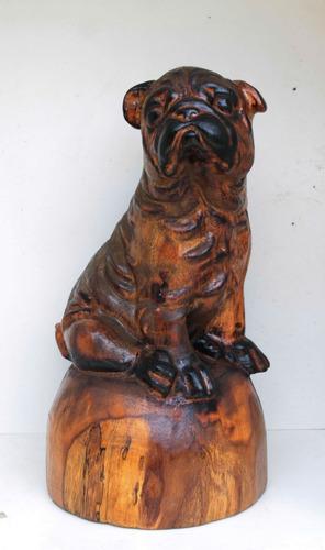 Escultura, Cachorro Bulldog, Madeira ,esculpido, Decoração