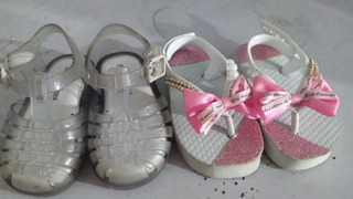 Sandalia Infantil Feminina Mini Melissa + Chinelo 17/18 Semi Novos