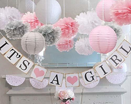Imagen 1 de 7 de Bebe Niña Baby Shower Decoraciones Es Una Chica Pancartas .
