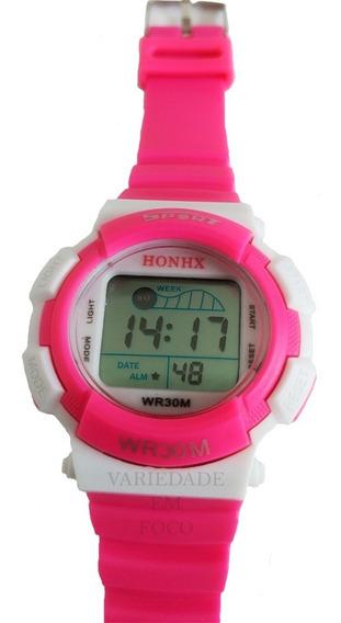Relógio Barato Infantil Honhx Unissex Sport Com Luz De Led