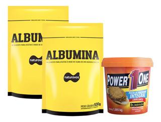 Albumina 500g Naturovos + Pasta Amendoim Crocante 1kg