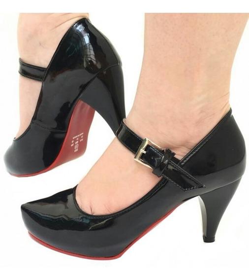 Sapato Scarpin Preto Verniz Salto Médio Alto Fino Meia Pata