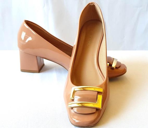 Sapato Fechado Feminino Com Fivela Dourada Salto 5 Nº 36