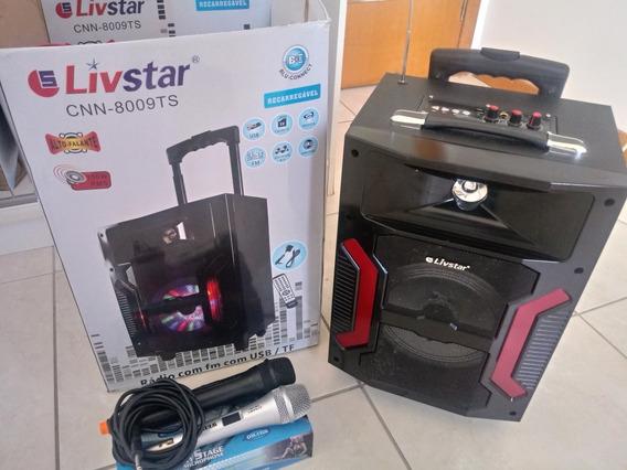 Caixa De Som Livstar 150w Rms + 2 Microfones