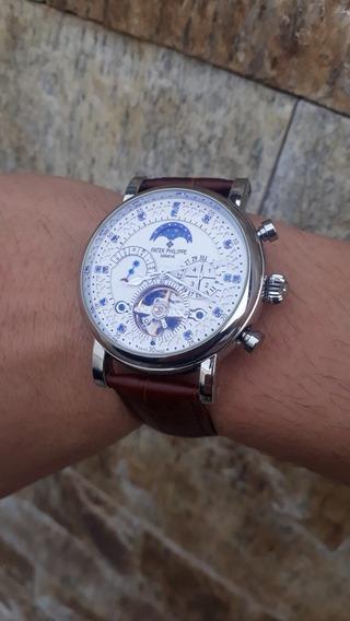 Relógio Novo Patek Phillipe Pulseira De Couro