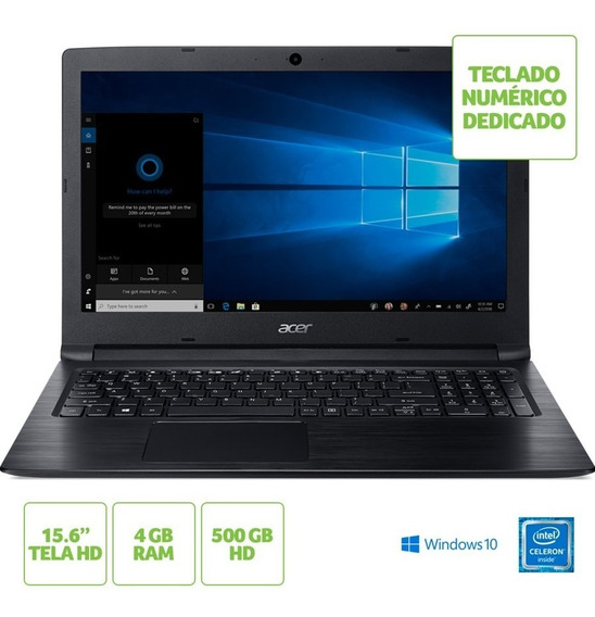 Notebook Acer Aspire 3 A315-33-c39f Intel Celeron Ram 4gb Hd 500gb 15.6 Hd Windows 10