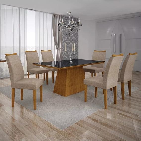 Conj.mesa Pampulha 1,80 X0,90m C/6 Cadeiras Vdr Preto Leifer