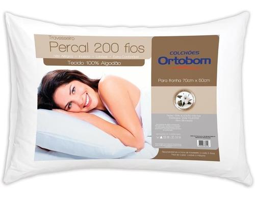 Kit 4 Travesseiro 200 Fios Ortobom + 4 Fronhas Impermiavel