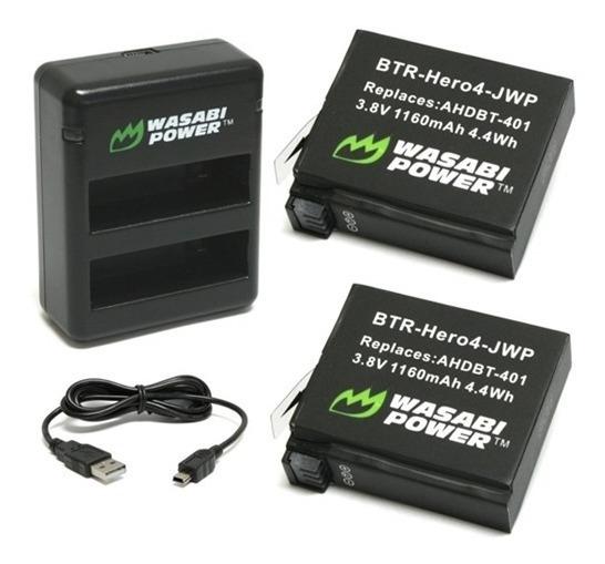 Cargador Wasabi Doble + 2 Baterías Para Gopro Hero 4