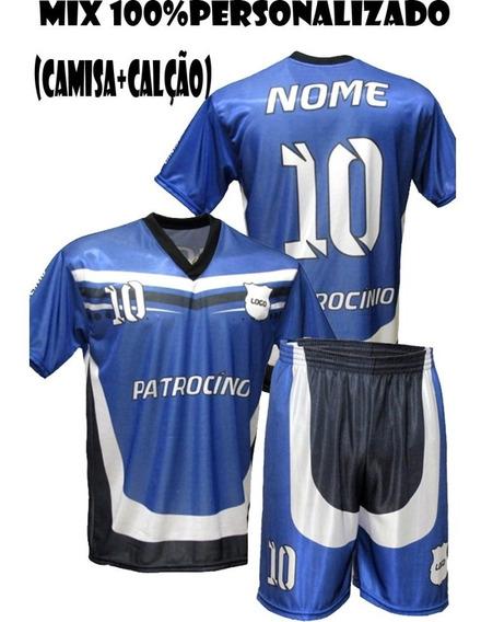 Kit 5 Camisa + 5 Short Personalizadas Time Futebol Volei