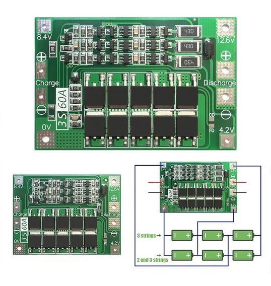 Placa Proteção Carga Bateria Lítio 18650 3s 12.6 V 6 60a W