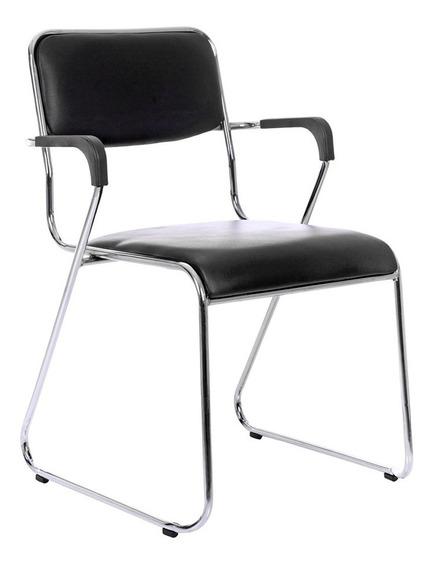 Cadeira Com Braços Escritório Interlocutor Empilhável Fixa