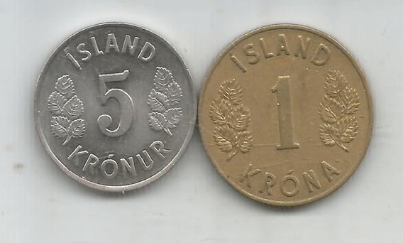 M 10509 Islandia Lote De 2 Monedas 1 Y 5 Coronas