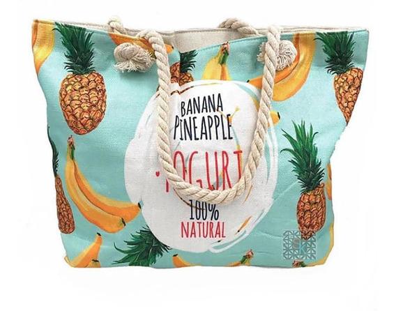 Bolsa De Praia Piscina Lona Corda Estampa Banana Abacaxi