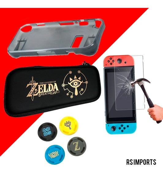 Case Zelda + Película Vidro + 4 Grips + Grip Silicone Tpu Mi
