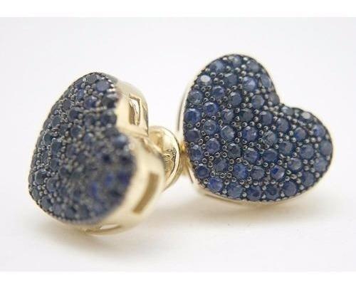 Brincos De Ouro 18k De Safiras Naturais Coração