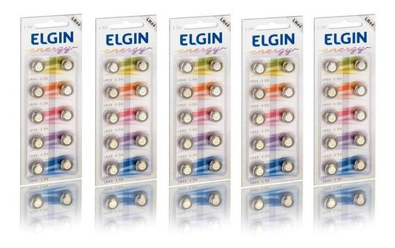 5 Cartelas C/10 Un. Bateria Alcalina Energy Lr44 1,5v Elgin