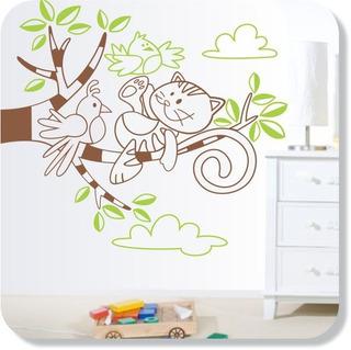 Adesivo De Parede Árvore Com Macaco Deitado Fofo E Infantil