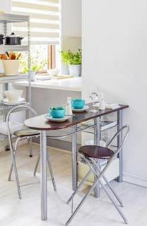 Set Desayunador Mdf Importado Mesa + 2 Sillas Plegabl Cocina