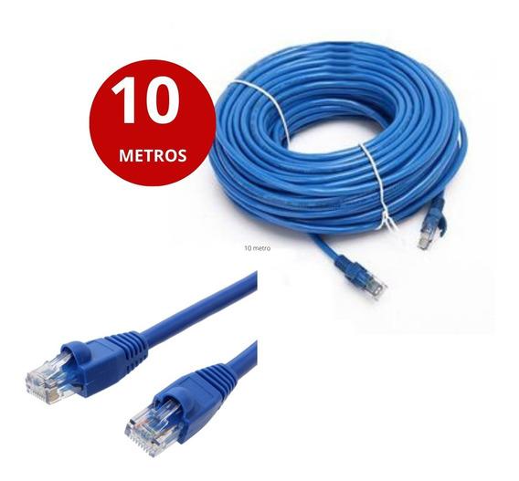 Cabo De Rede Ethernet Lan Rj45 Cat5e C/ 10 Metros