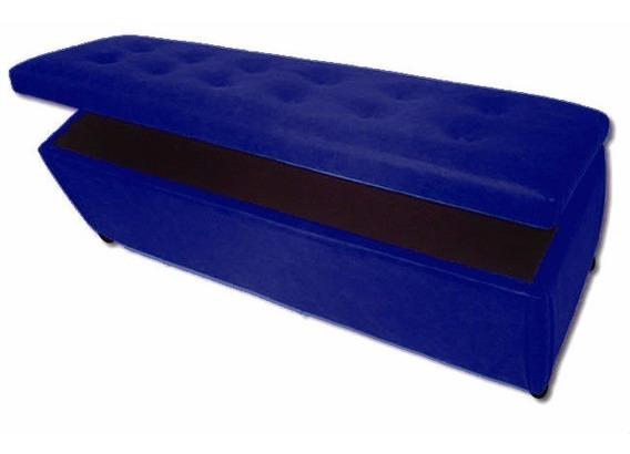Puff Baú Retangular Quarto Cama Casal Capitonê Azul Royal