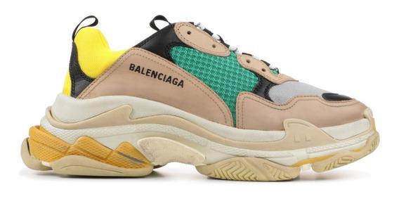 Zapatillas Balenciaga Triple S Gris Amarillo Verde
