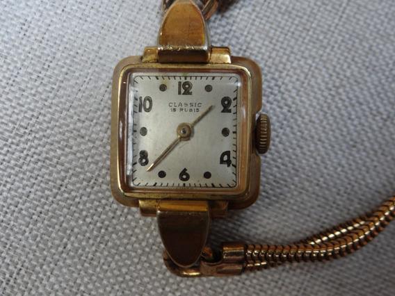 Antigo Relógio Classic Feminino Suíço Plaquê D