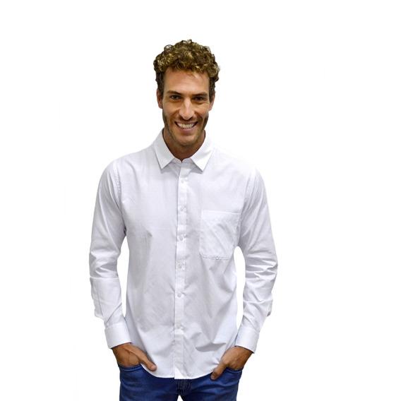 Camisa Manga Longa Slim Branca Masculina - Polo Match