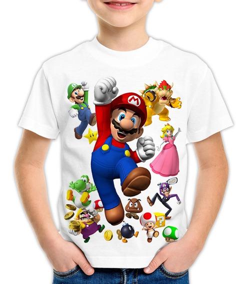 Camiseta Infantil Ou Adulto - Super Mario Bross Luigi