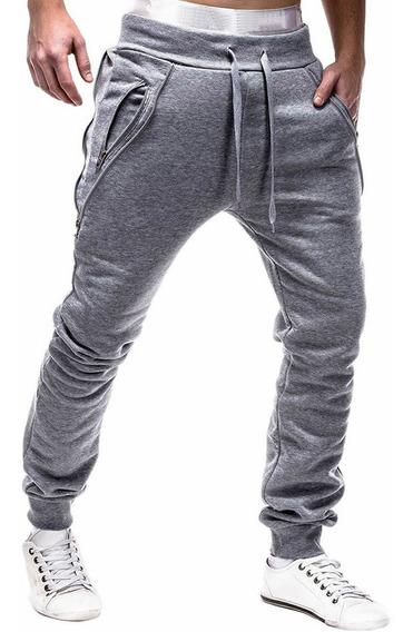 Deporte Jogger Pantalones De Poliéster Hombres Cremallera A
