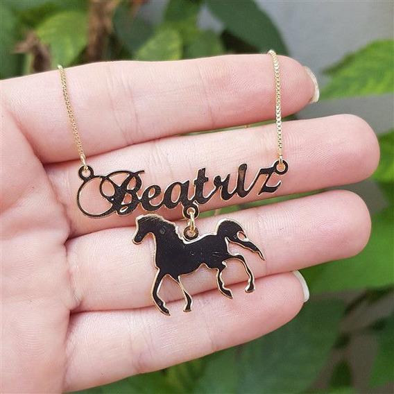 Colar Personalizado Nome Com Cavalo