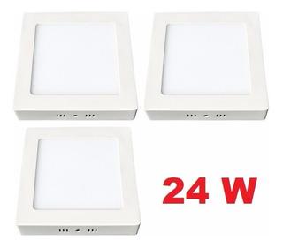 Pack 3 Foco Panel Plafon Led Sobrepuesto Cuadrado 24w