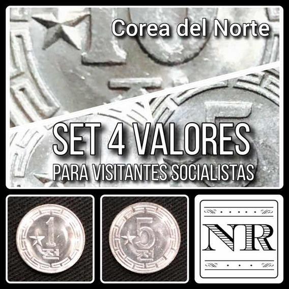 Corea Del Norte - Set 4 Valores - Visitantes Socialista
