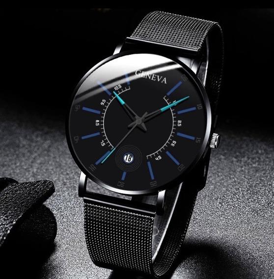 Relógio De Pulso Geneva Unissex Aço Inox