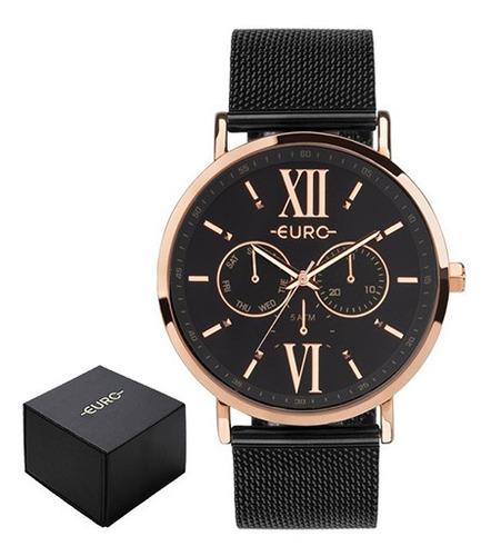 Relógio Euro Multi Glow Rose E Preto Feminino Eu6p29ahgbp/5p