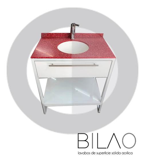 Lavabo Superficie Solida Eco Rojo (incluye Mueble)