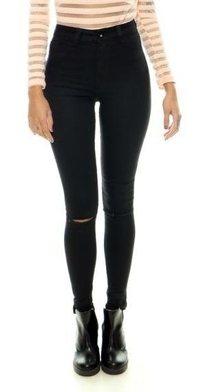 Calça De Cintura Alta Lady Rock Cos Alto Calça Skiny Jeans
