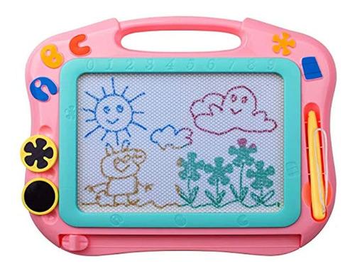 Imagen 1 de 7 de Tabla De Dibujo Magnética Para Niños, Tamaño De Viaje Rosa