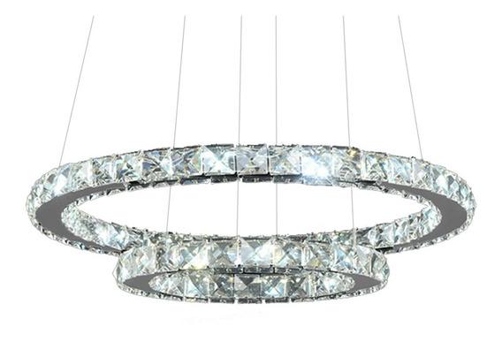 1 Lustre Candelabro Pendente Circular De Cristal 2 Anéis L40
