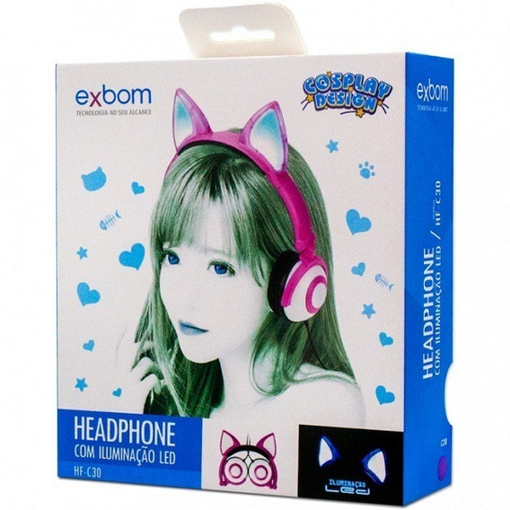 Headfone Fox Cosplay C/ Pisca Led Hf-c30 Exbom