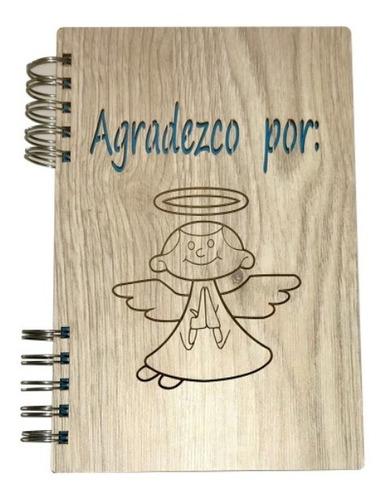 Cuaderno Angelical De Agradecimiento Madera Mdf Ecológico