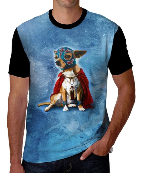Playera Estampada De Perro Chihuahua Con Máscara Mexicana