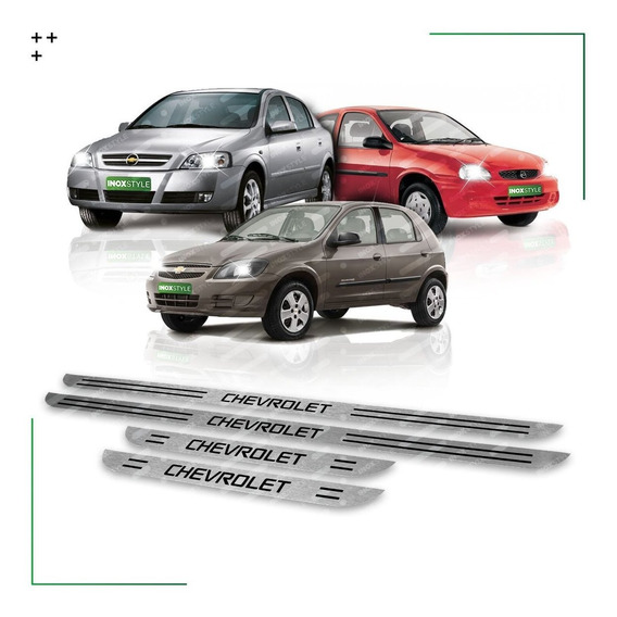Kit 4 Cubre Zócalos Protector Chevrolet Celta Corsa Classic Astra - Ls Lt Gls Molduras Inoxidable Juego De Accesorios X4