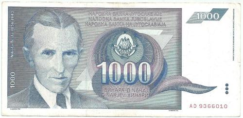 Yugoslavia 100 Dinares 1991  Nikola Tesla Color Azul