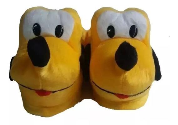 Pantufas Infantil E Adulto De Pelucia Do Mickey Minie Pluto