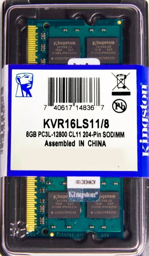 Memória Kingston Ddr3 8gb 1600 Mhz Notebook 16 Chips 1.35v