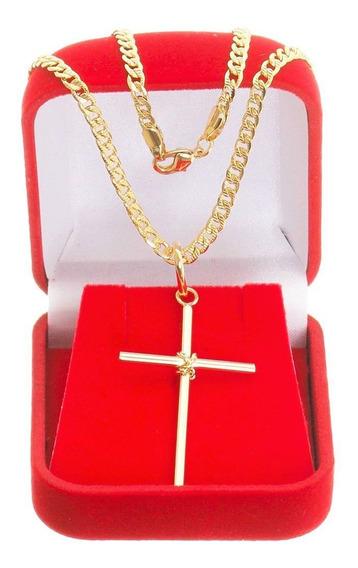 Cordão Corrente Masculina Grumet 60cm 3mm Com Pingente Crucifixo Tudo Folheado Folheado Ouro Com Garantia No Banho.