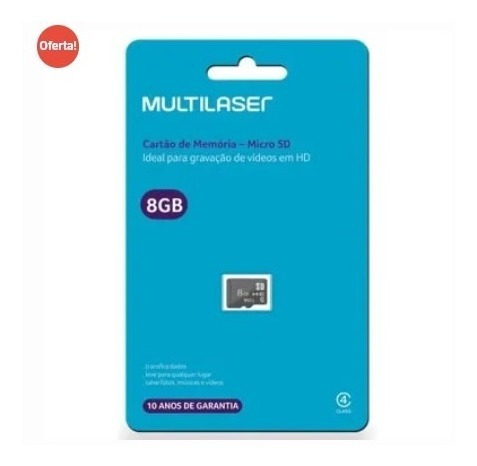 Promoção Cartão Memória 08gb Micro Sd Class 4 Multilaser