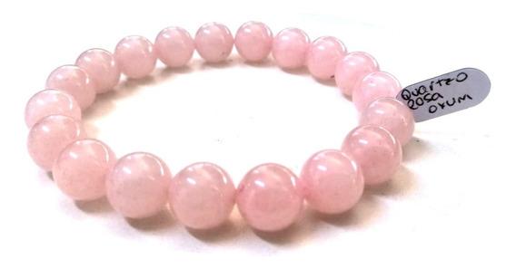 Pulseira De Bolinha Pedra Natural Quartzo Rosa Shambala