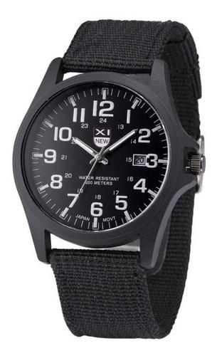 Reloj Análogo Militar Acero Manilla Algodón Color Negro